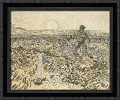 Sower with Setting Sun 24x20 Black Ornate Wood Framed Canvas Art by Vincent Van Gogh (The Sower With Setting Sun Van Gogh)