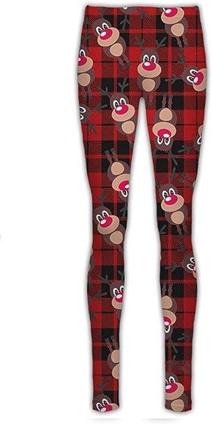 New Ladies Rudolph Gift Tartan Check Christmas Print Stretchy Xmas Leggings Pant