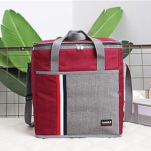 Fashion Portable Large Capacity Aluminum Film Inside Handbags Waterproof Insulated Leak Proof Food Storage Picnic Bags(11.5L,Wine Red)