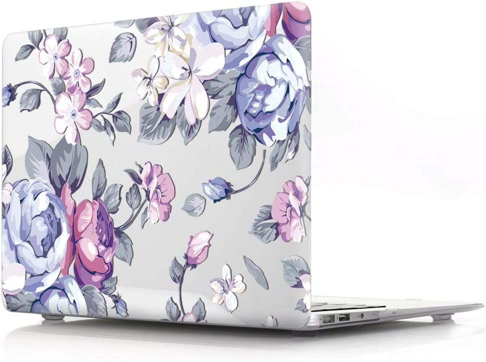 HRH Hand Painted Purple Flower Clear Glossy Laptop Body Shell Protective PC Hard Case for MacBook Air 13.3