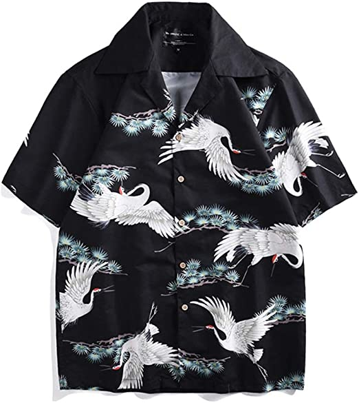Our Peaches-Camisas Hawaiana Suelta con grúa de Corona roja Impresión de Vacaciones Camisa de Playa de Manga Corta Ocasional Gran tamaño (Color : Multi-Colored, Size : M): Amazon.es: Jardín