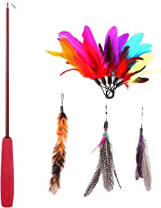 Abestbox Retractable Cat Toys, Cat Teaser Wand with 8 Assorted Interactive Refills Feathers Teaser, Cat Feather Toys for Exercising Kitten and Cat