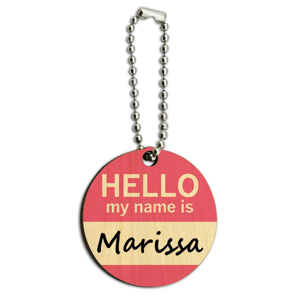 Marissa Hello My Name Is Wood Wooden Round Key Chain