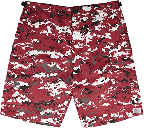 Army Universe Red Digital Camouflage Military BDU Cargo Shorts Pin Size XX-Large (Waist 43-47