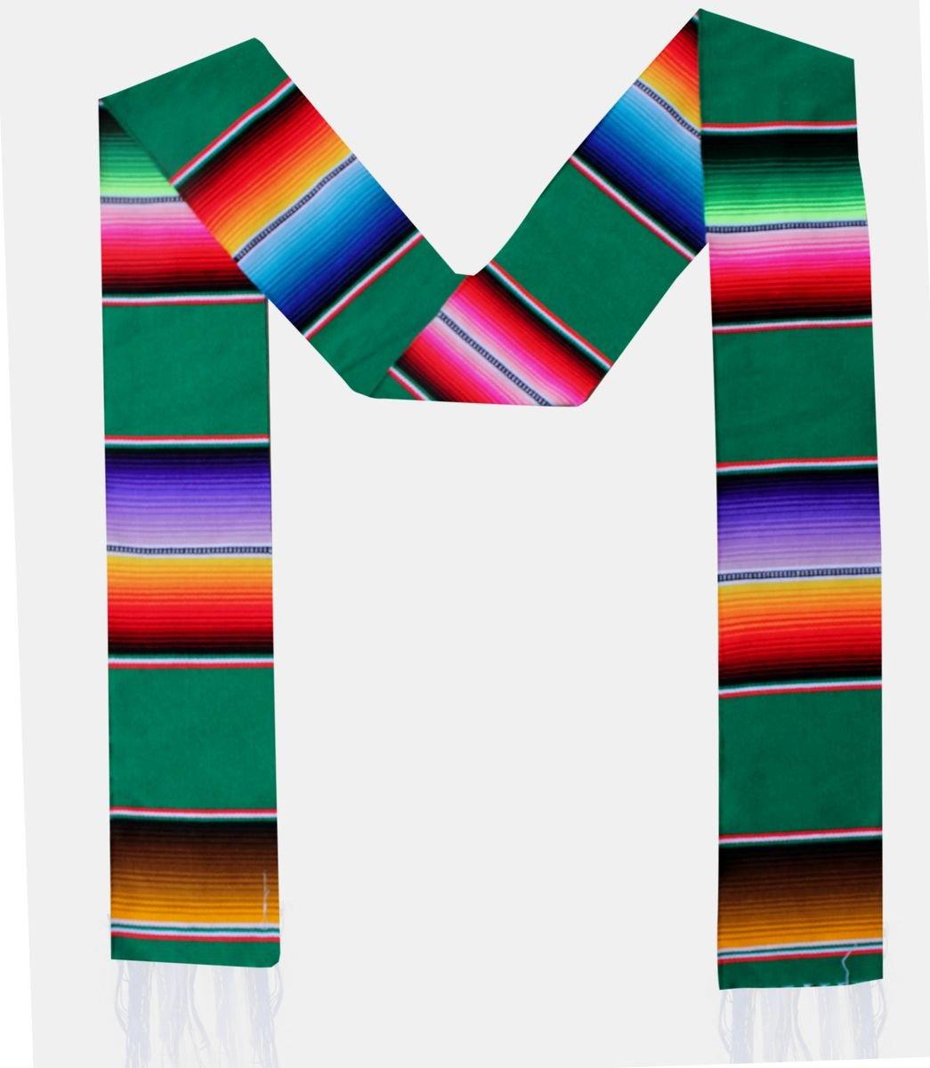 Del Mex Mexican Serape blanket Graduation Stole Sash Latino Hispanic (Green) by Del Mex (Image #3)