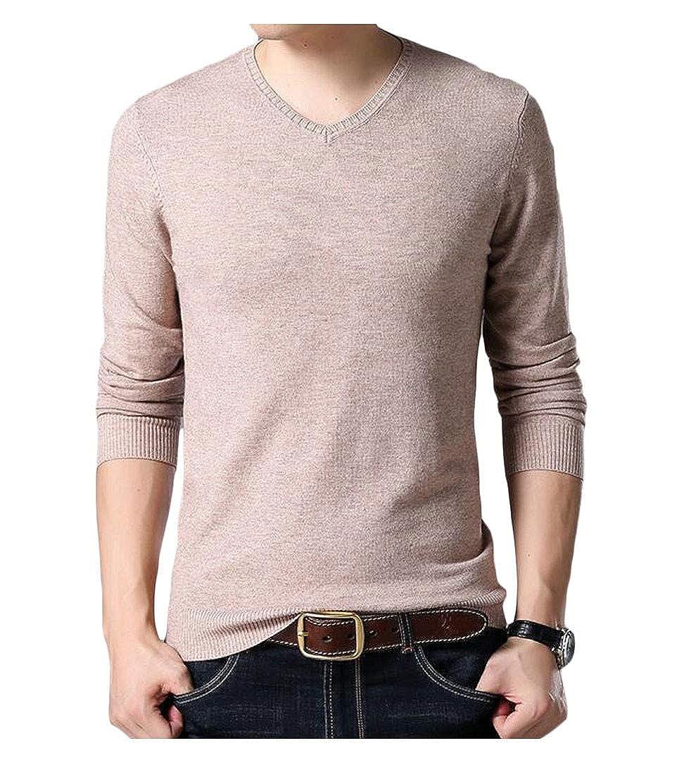 Wofupowga Mens Knit Slim Woolen Jumper Pullover Long-Sleeve Sweaters