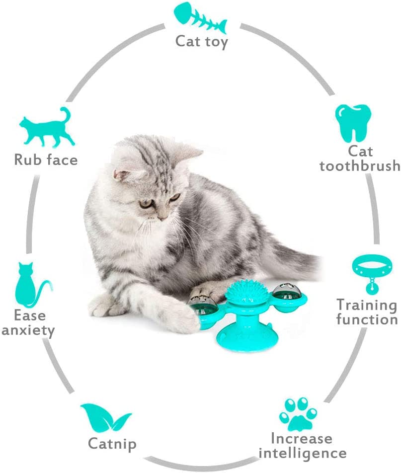 Multifunction Interactive Cat Toy for Kitty: Silicone Suction Cup Blue 1PCS LED Flash light MEEQIAO Cat Windmill Toy 2PCS Catnip Balls 2PCS Bells Washable Cat Brush Spinning