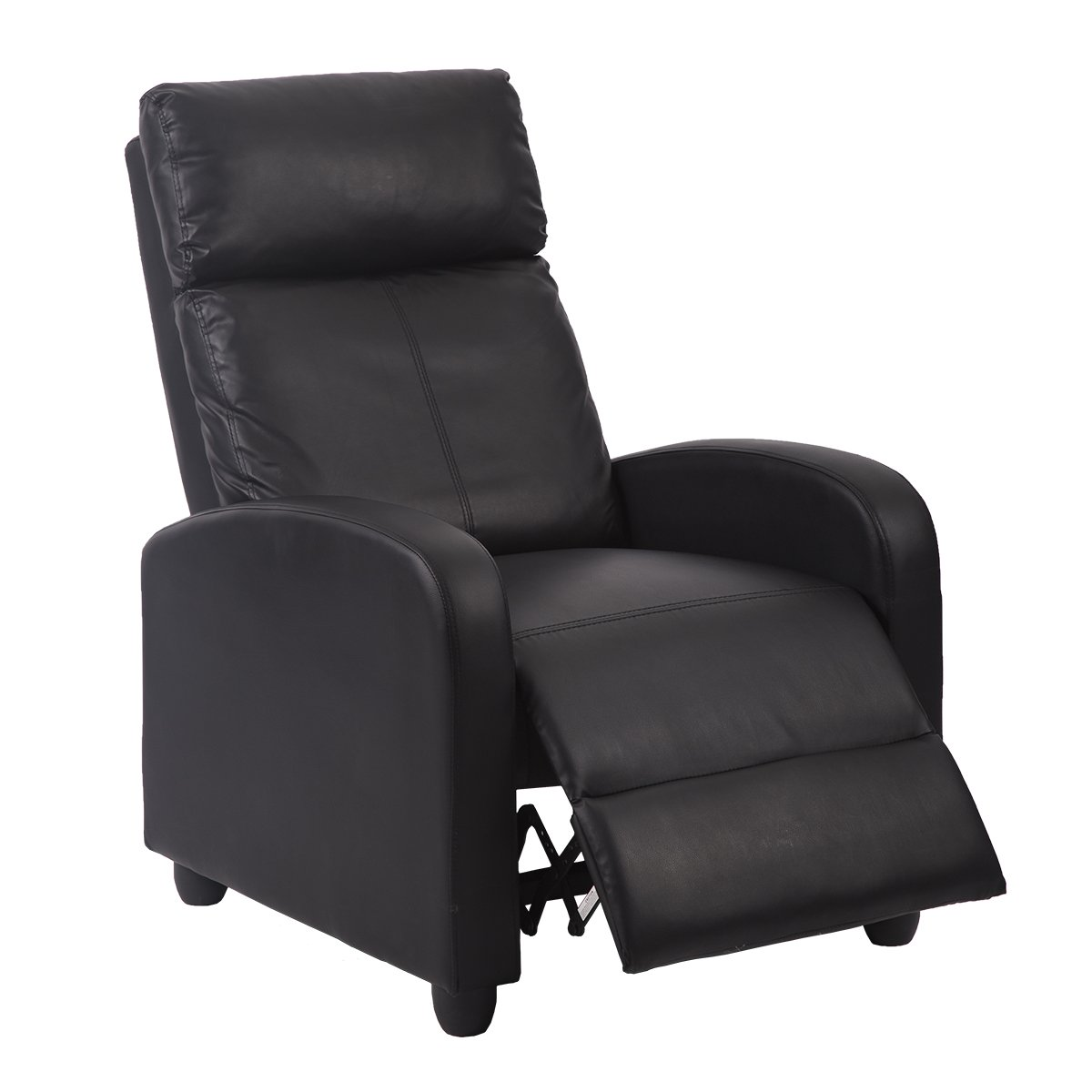 Contemporary Chaise Lounge Sofa: Black Modern Leather Chaise Couch Single Recliner Chair