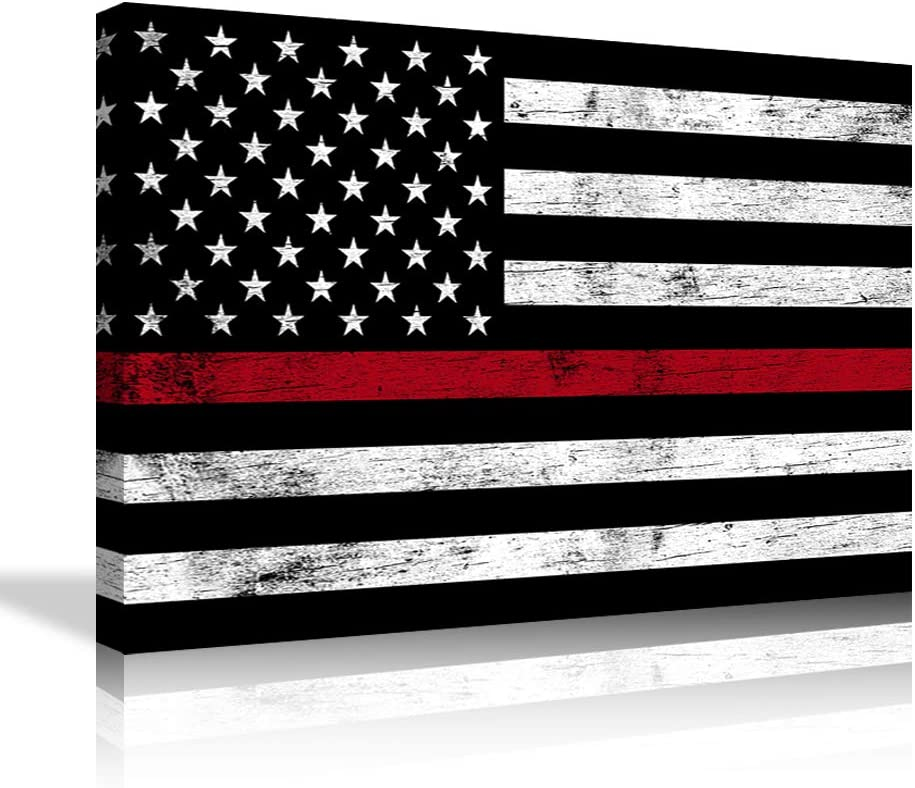 Firefighter American Flag Wall Decor American Flag Wall Art American Flag Canvas Painting American Flag Pictures Print Artwork for Living Room Bedroom Framed Ready to Hang