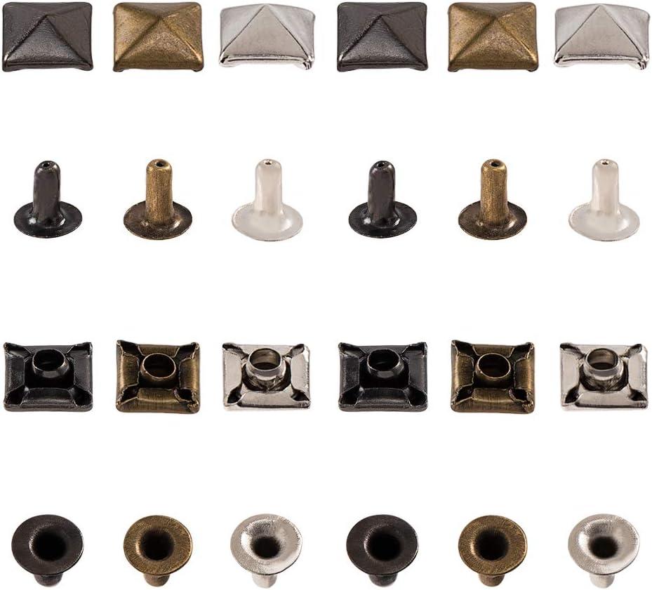3 Colori Borchie Lunghe 5 mm in Ottone per Borchie in Pelle Punk PandaHall 120 Set Punte a Base Quadrata piramidale da 6 mm Borse Cappelli Canna di Fucile//Platino//Bronzo Antico Decor Scarpe