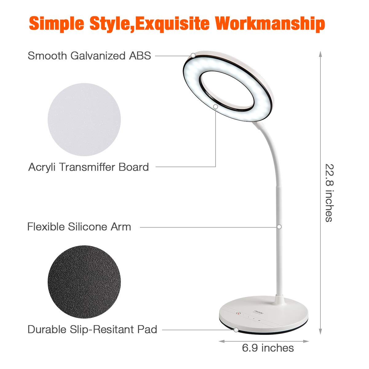 Miady LED Desk Lamp Eye-Caring Table Lamp, 3 Color Modes with 4 Levels of Brightness, Dimmable Office Lamp with Adapter, Touch Control Sensitive, 360° Flexible by Miady (Image #5)