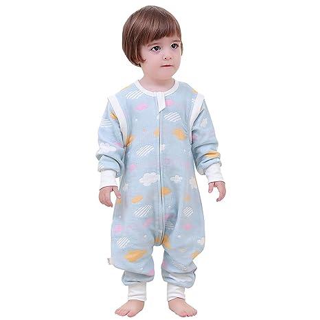 Saco de Dormir para bebé Baby Pijama Invierno Pelele Split Pierna con Mangas extraíbles y