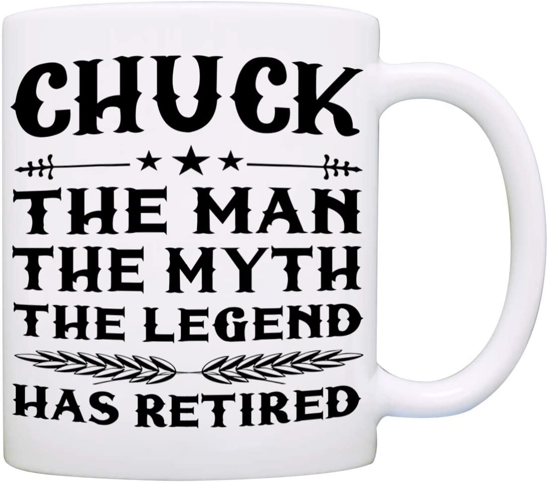 Amazon Com Personalized The Man The Myth The Legend Has Retired Coffee Mug Funny Humor Retirement Gag Gifts For Coworkers Men And Dad Printed On Both Sides Kitchen Dining