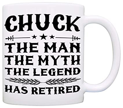 The Man The Myth The Legend Has Retired Coffee Mug, Funny Humor Retirement Gag Gifts for Coworkers, Men and Dad, Printed on Both Sides!: Kitchen & Dining