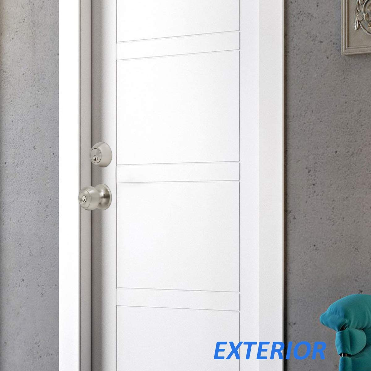 6 Pack Entry//Entrance Door Handleset with Deadbolt Entry Door Knob Lockset and Single Cylinder Deadbolt Combination Set Satin Nickel Keyed Alike Keyed on One Side