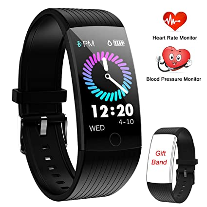 WENVVIS Montre Connectée, Bracelet Connecté Cardiofréquencemètre Femmes Homme, Tracker dActivité Écran Coloré Cardio Etanche IP67 Sports Smart Watch, ...