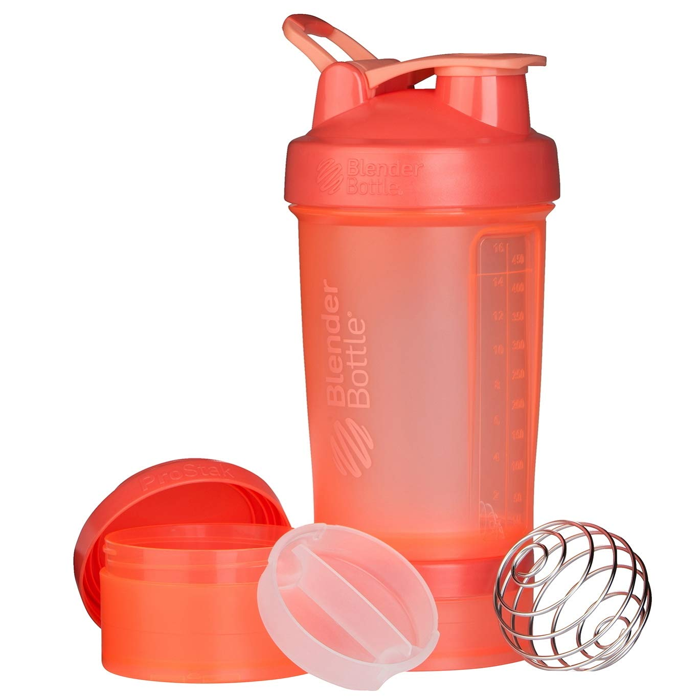 BlenderBottle ProStak System with 22-Ounce Bottle and Twist n' Lock Storage, Coral