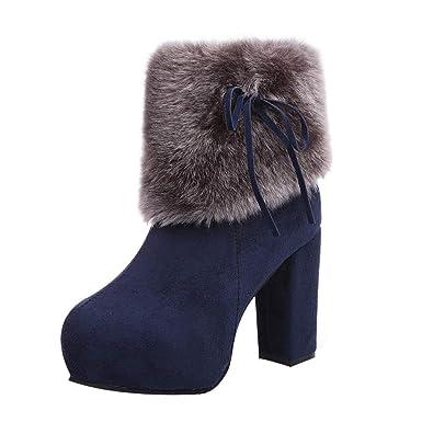 Stiefel Damen Klassische Boots Mittlere Stiefel Warm High Heels Schuhe  Winter Flock Reißverschluss Mode Stiefel Freizeitschuhe e98d25ecd8