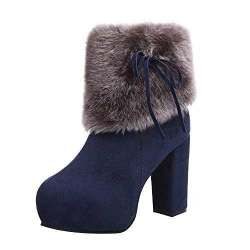 OHQ Botas De Martin Mujeres Winter Flock Zipper Warm High Square Gruesas Martin Boots Zapatos con