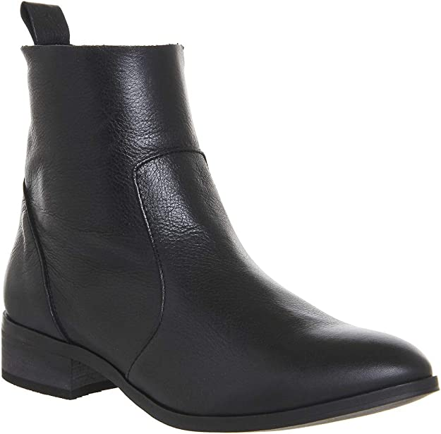 Womens Office Ashleigh Flat Ankle Boots Black Leather Boots