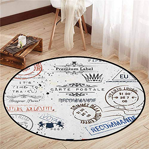 Non-Slip Round Rugs,Vintage,Retro Post Stamps Postage Mail Paris Antique Artistic Design Vocation Traveling,Door Floor Mat for Bedroom,2'3