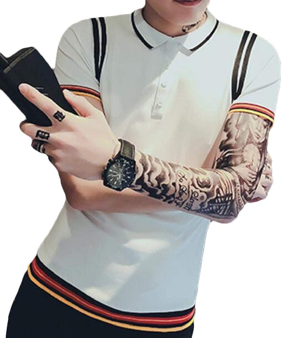 Domple Mens Stylish Slim Short Sleeve Color Blocks Solid Polo Shirt
