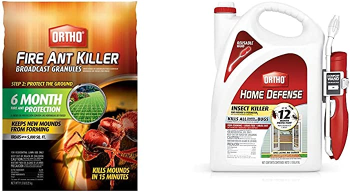 Ortho 0200310 Fire Ant Killer Broadcast Granules: Treats up to 5,000 sq. ft, 11.5 lbs, 1.5 lb & 0220910 Home Defense Insect Killer for Indoor & Perimeter2 with Comfort Wand Bonus Size, 1.1 GAL
