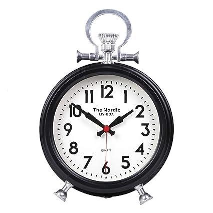 Fireplace Clocks Familiar Mute Clock, Retro Desk Watch, Decoration ó N, Living Room