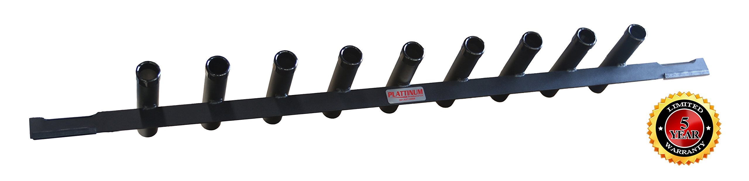 Fishing Rod Holder Across Bedrail for Full Size Trucks POWDER COATED BLACK by Plattinum Products