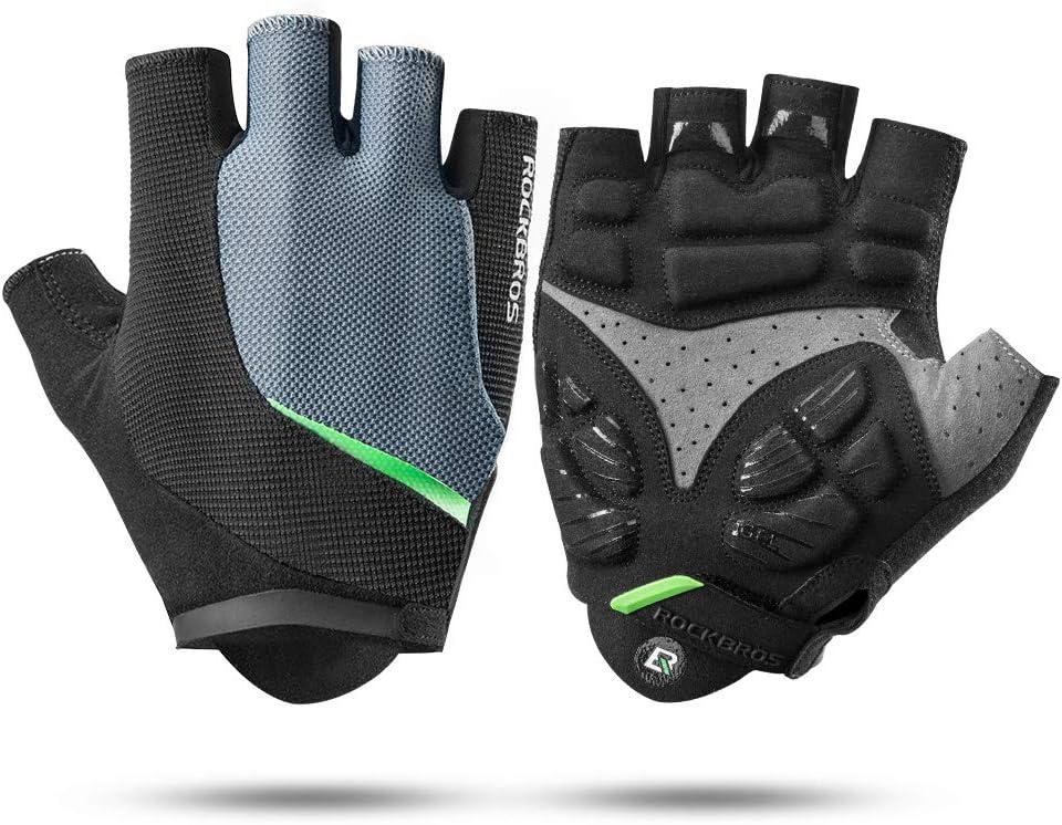 RockBros Cycling Sports Half Finger Men Gloves Road Bike Gloves Black Sliver