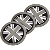 beler 3pcs Car Cupholder Mats Grey Union Jack Anti-Slip Cup Pads (Union Jack, Fulfilled by hermeshine)