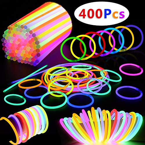 Swimming Pool With Glow Sticks (BUDI 400 Pack Glow Sticks Glow in the Dark Party Favors Glow Party Supplies for Kids and)
