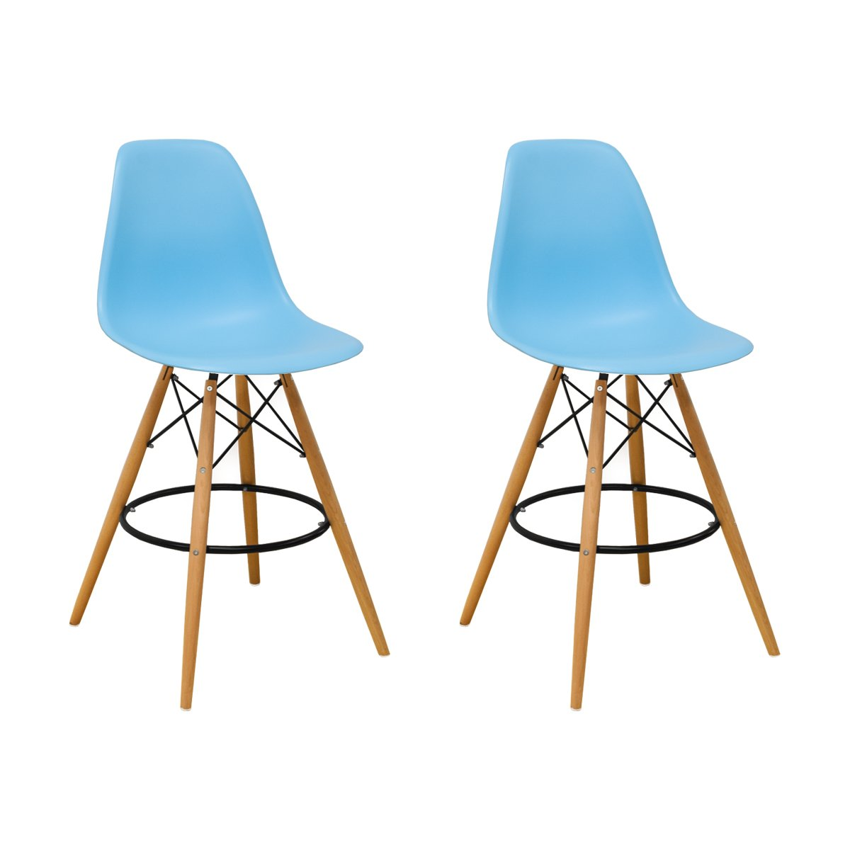 Mod Made Mid Century Modern Armless Paris Tower Barstool Chair with Natural Wood Legs for Bar or Kitchen- Blue (Set of 2)