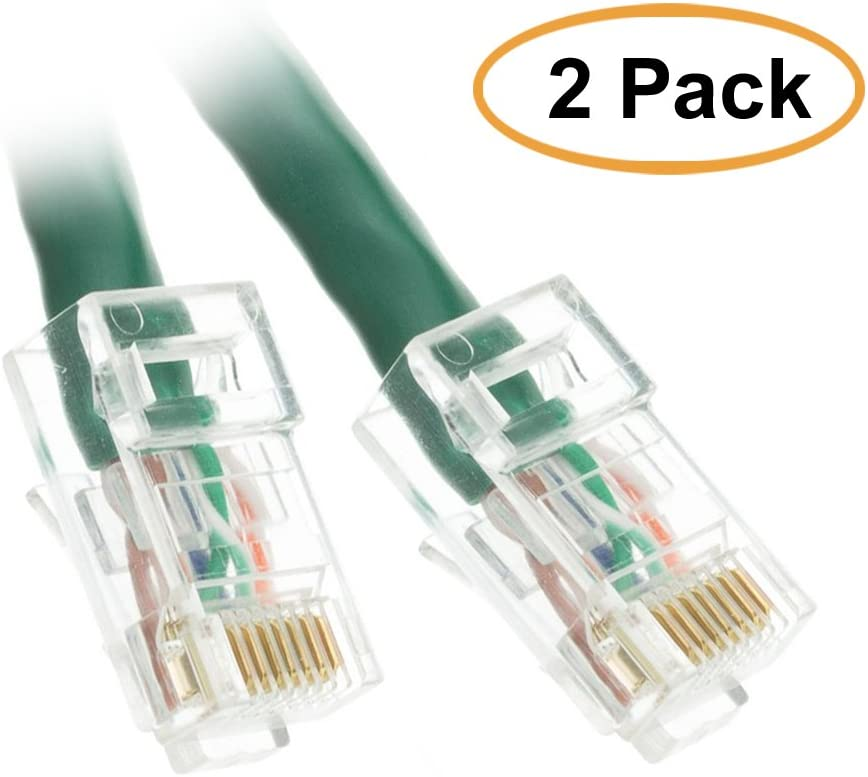 Green ACL 7 Feet Cat6 RJ45 Bootless Ethernet Patch Cable 1 Pack