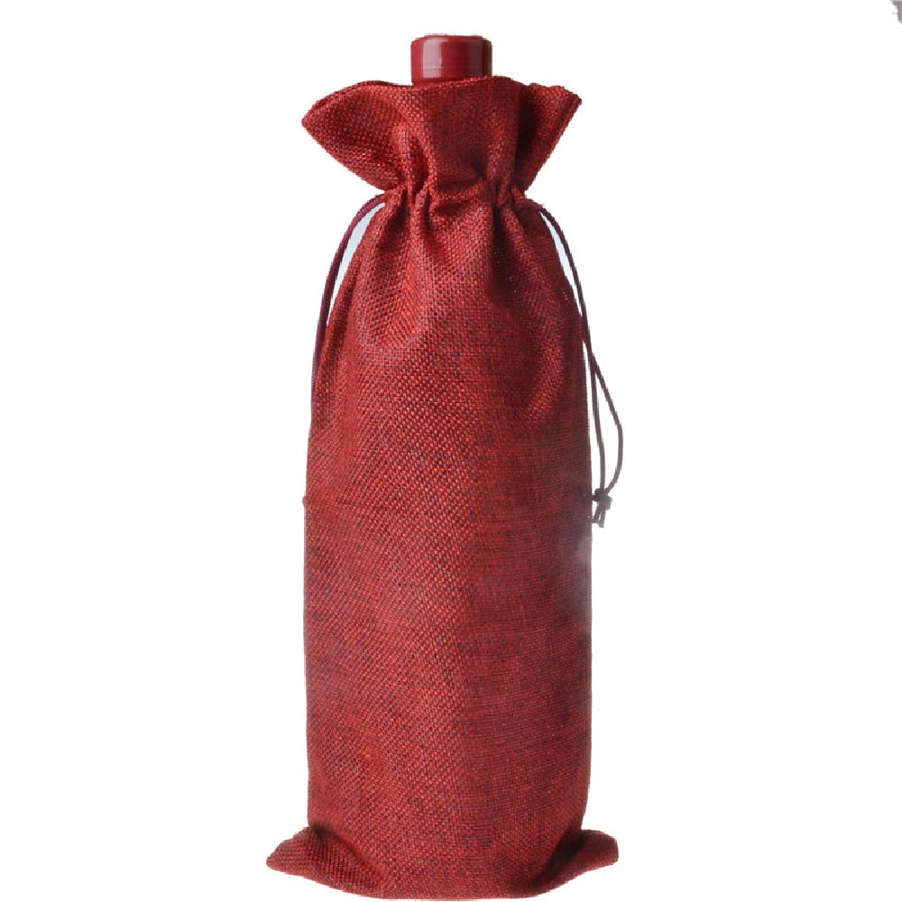 Jute Wine Bags Burlap Wine Bottle Carrier with Drawstring for Wedding Housewarming Party, 10 Pack (Red)