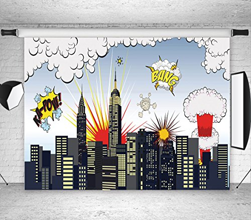 LB 7x5ft Super City Vinyl Photography Backdrop Customized