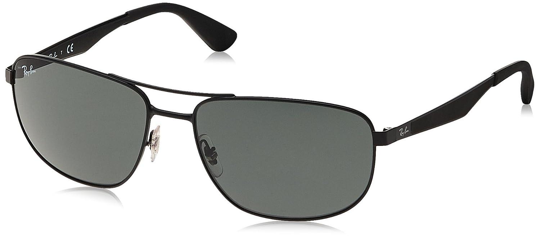 e3f04e38a7 Amazon.com  Ray-Ban METAL MAN SUNGLASS - MATTE BLACK Frame GREEN Lenses  61mm Non-Polarized  Clothing
