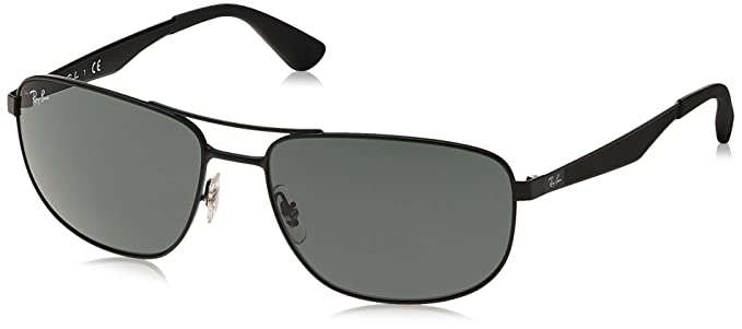 f4426bcadb5 Ray-Ban METAL MAN SUNGLASS - MATTE BLACK Frame GREEN Lenses 61mm  Non-Polarized