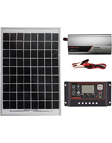 Kstyhome 180W 12V Solar Panel Kit Dual USB Port Off Grid Monocrystalline Module with Solar Charge Controller SAE Connection Cable Kits