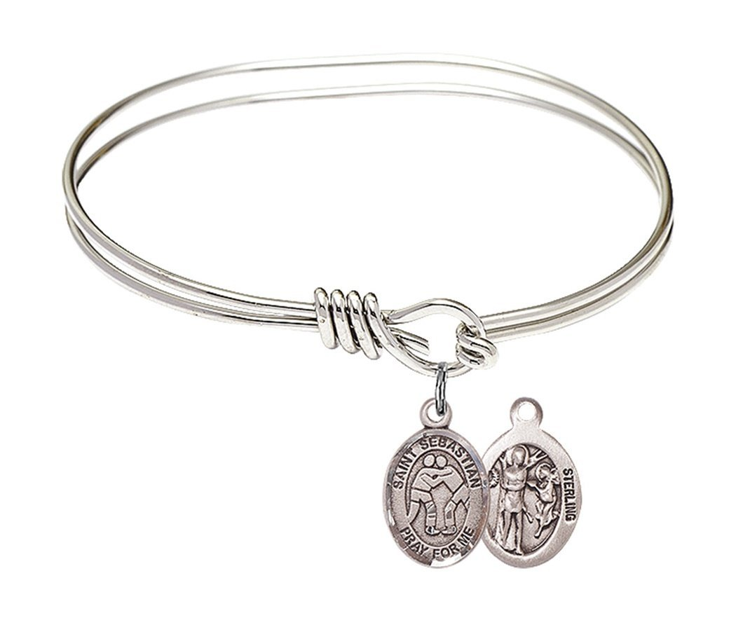Rhodium Plate Twist Bangle Bracelet with Saint Sebastian Wrestling Athlete Petite Charm, 5 3/4 Inch