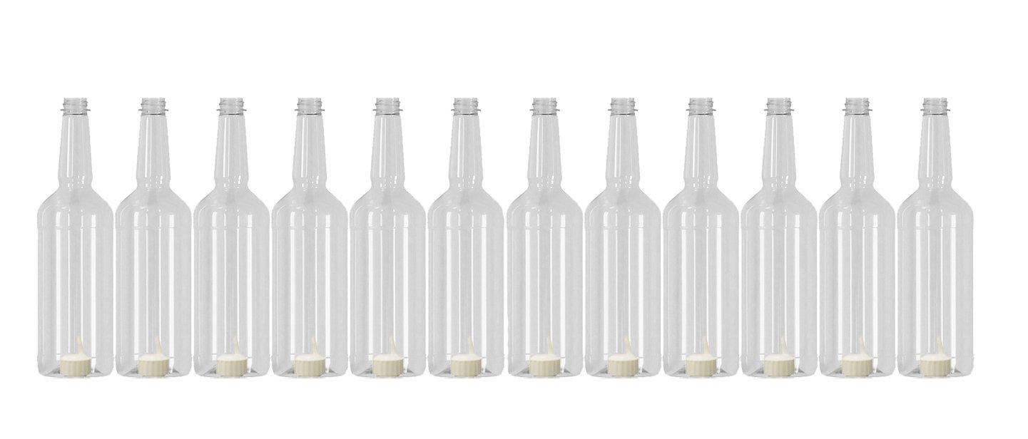 Concession Express Long Neck 32oz Plastic Quart Bottles with Flip-Top Caps (12 Bottles)