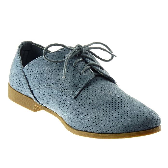 Angkorly Damen Schuhe Derby-Schuh - Perforiert Blockabsatz 2 cm - Schwarz 333-9 T 40 JVmlD437O