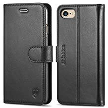 iPhone 6S Case, iPhone 6 Case, SHIELDON Genuine Leather Wallet Case, Flip Book Cover with Stand Function, Cards Slots, Magnetic Clasp [Lifetime Warranty] for iPhone6S / iPhone6 (4.7 inch), Solid Black