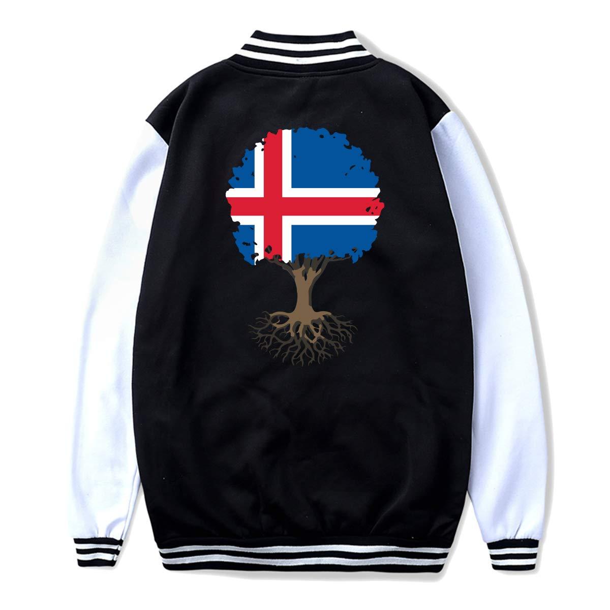 NJKM5MJ Unisex Youth Baseball Uniform Jacket Tree of Life with Iceland Flag Hoodie Coat Sweater Sweatshirt Back Print