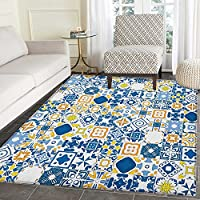Yellow and Blue Area Silky Smooth Rugs Mosaic Portuguese Azulejo Mediterranean Arabesque Effect Floor Mat Pattern 3x5 Violet Blue Mustard White