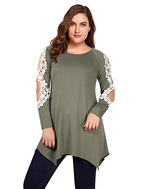 4c330ec57bc AMZ PLUS Asymmetric Hem Crochet Lace Tunic Blouse Plus Size Womens Long  Sleeve Tops Army Green