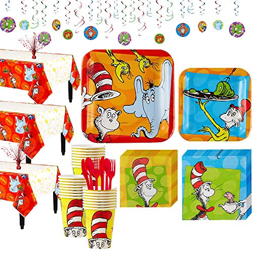 Party City Dr. Seuss Tableware Party Kit for 24 Guests, Includes Plates, Napkins, and Utensils -
