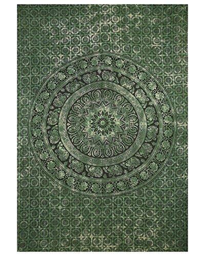 Olive Green Tie Dye Twin Tapestry Hippie Wall Hanging Art Decor Single Mandala Elephant Tapestry Hippie Dorm ()