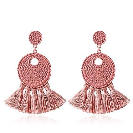 02d6d1338 Dark Pink: Danmei Bohemian National Style Tassel Earrings European and  American Personality Multi-Layer Tassel Earrings Jewelry: Amazon.in: Home &  Kitchen