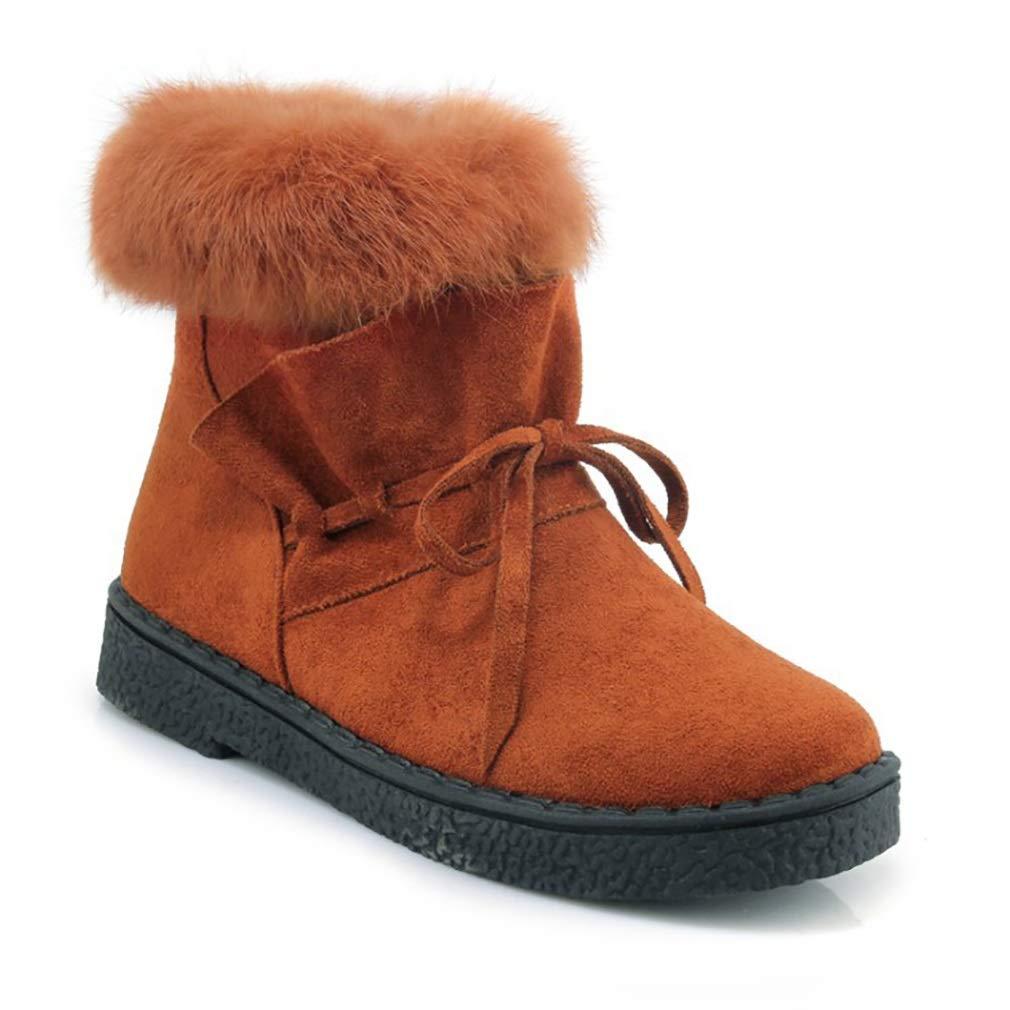 Hy Damen Stiefel Winter Wildleder Plus Kaschmir Warm Winddicht Schnee Stiefel Stiefel Student Slip-Ons Stiefelies Damen Snowboard Outdoor-Übung Snowsports Winter Stiefel (Farbe   Gelb Größe   38)